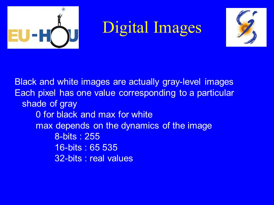 Digital Images Black and white images are actually gray-level images