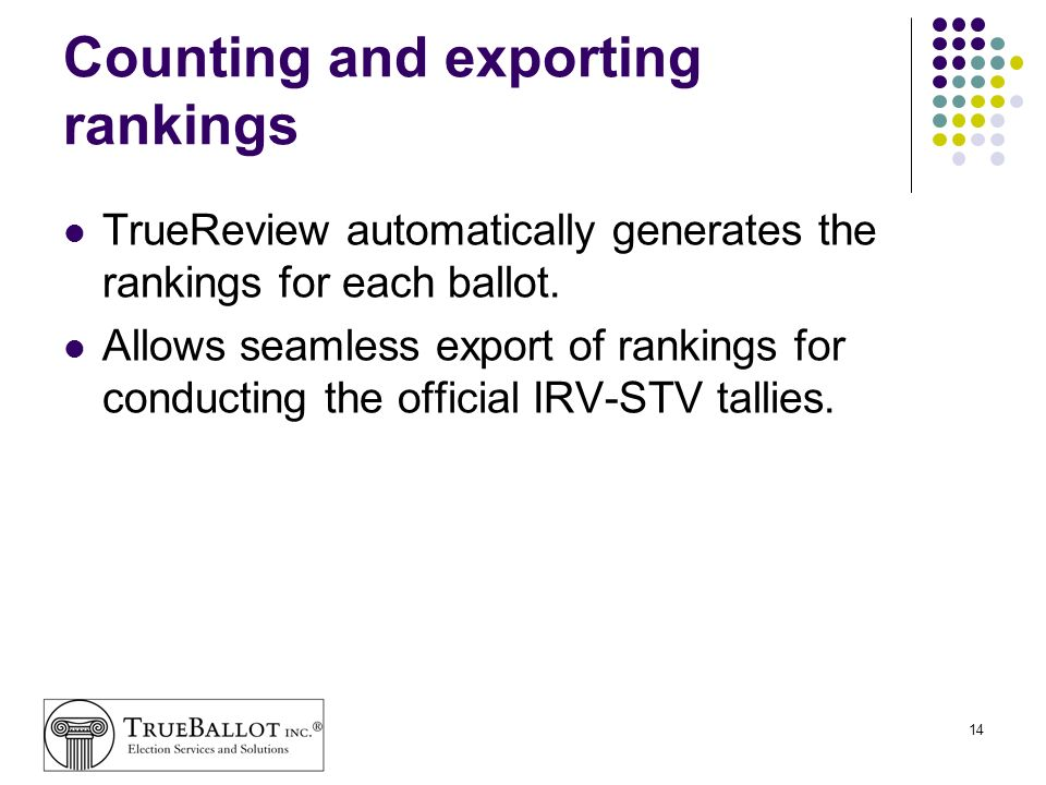 Counting and exporting rankings
