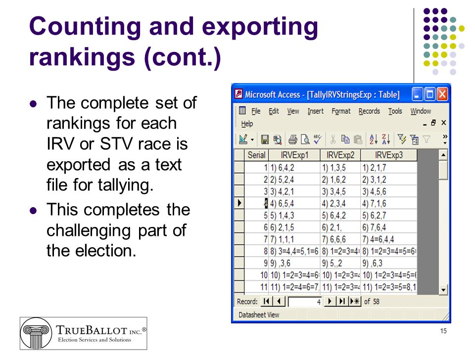 Counting and exporting rankings (cont.)
