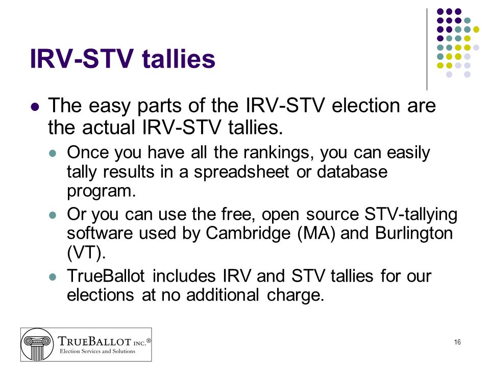 IRV-STV tallies The easy parts of the IRV-STV election are the actual IRV-STV tallies.