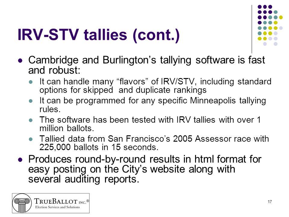 IRV-STV tallies (cont.)