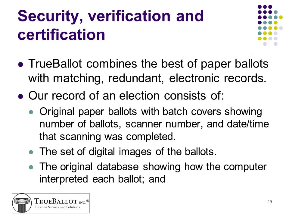 Security, verification and certification
