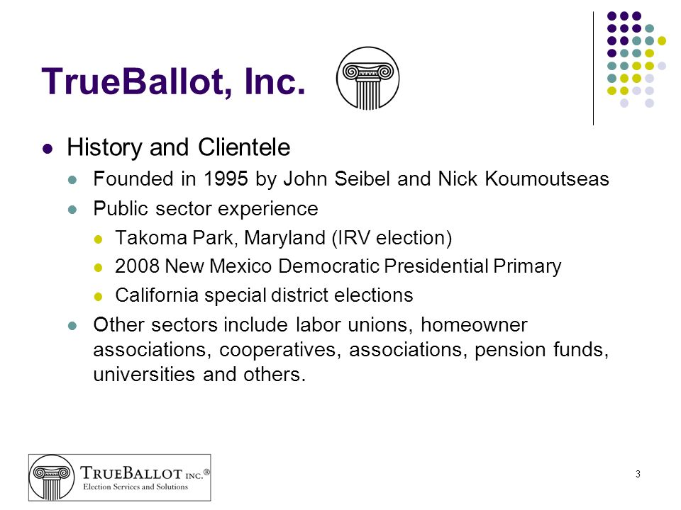 TrueBallot, Inc. History and Clientele
