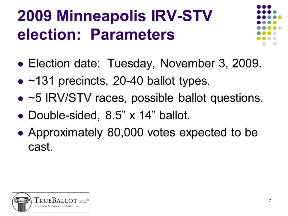 2009 Minneapolis IRV-STV election: Parameters