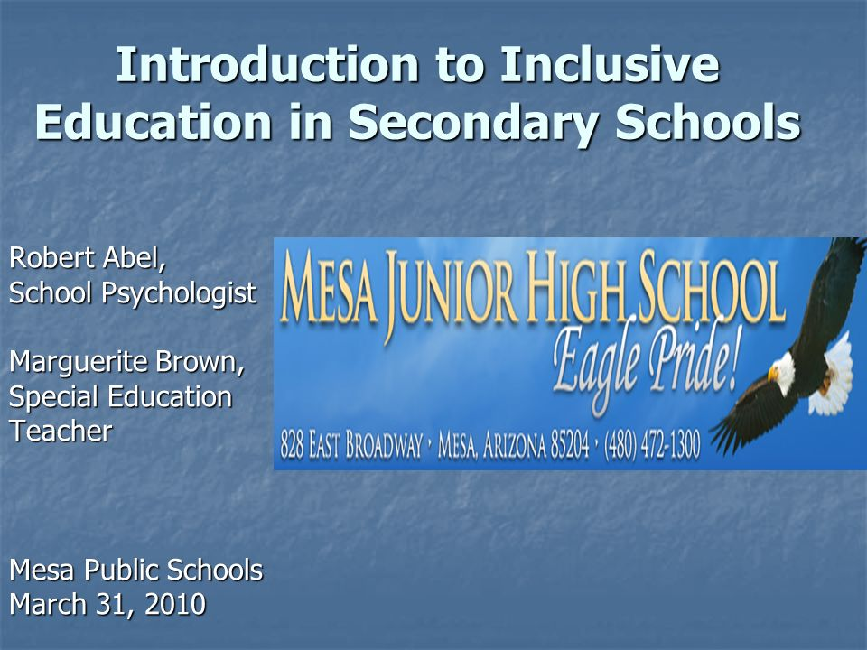 Introduction to Inclusive Education in Secondary Schools