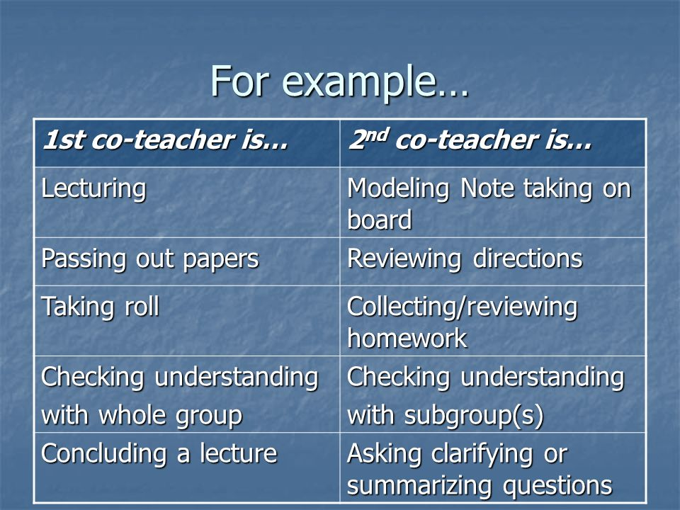 For example… 1st co-teacher is… 2nd co-teacher is… Lecturing