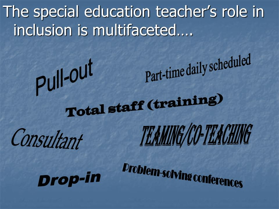 The special education teacher's role in inclusion is multifaceted….
