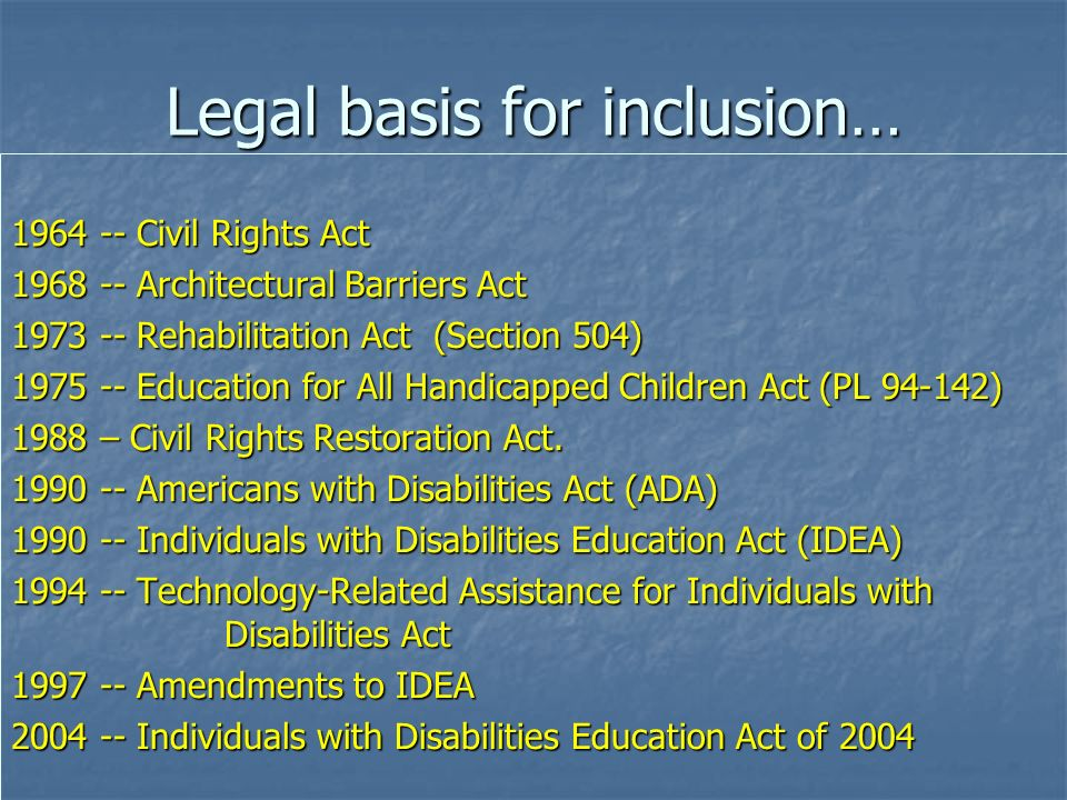 Legal basis for inclusion…