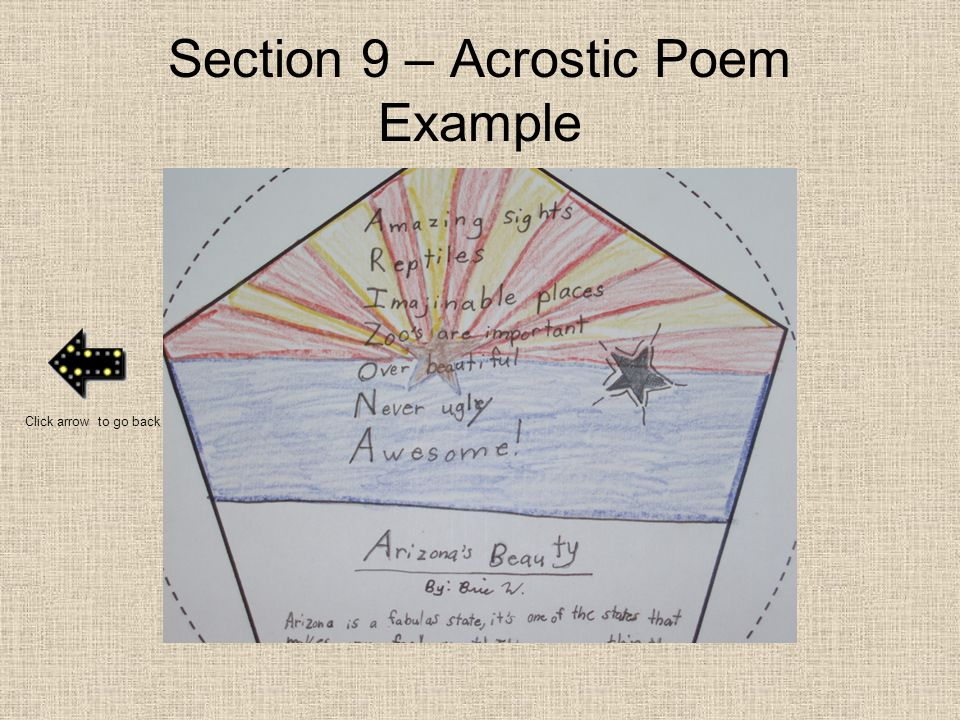 Section 9 – Acrostic Poem Example