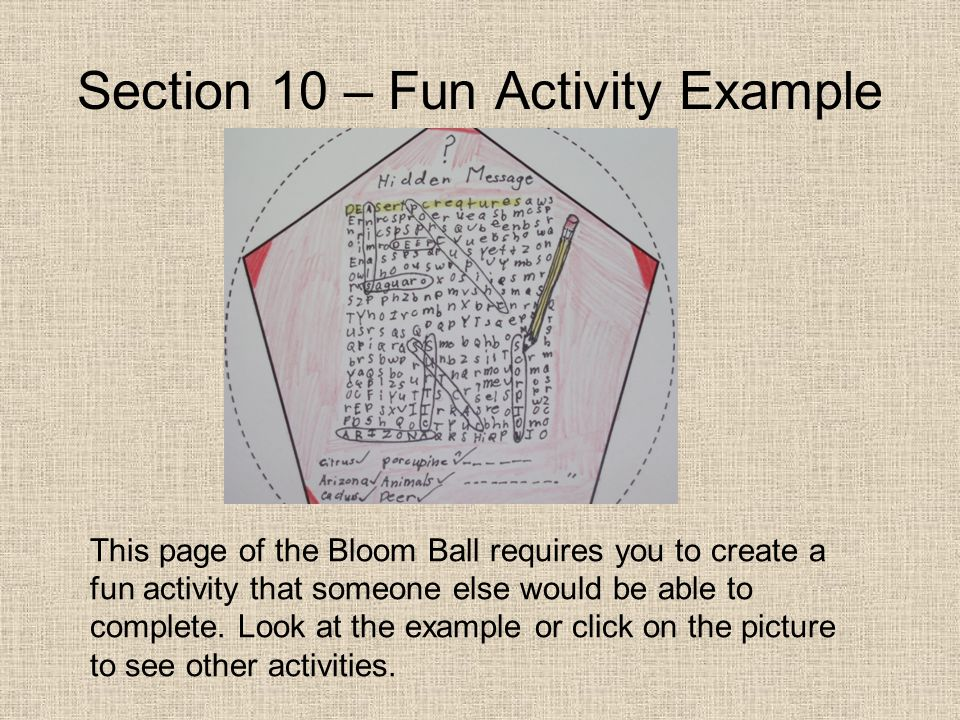 Section 10 – Fun Activity Example