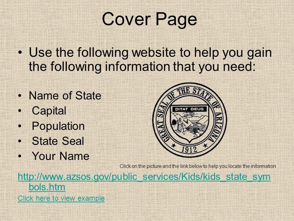 Cover Page Use the following website to help you gain the following information that you need: Name of State.