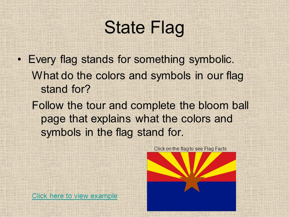 State Flag Every flag stands for something symbolic.