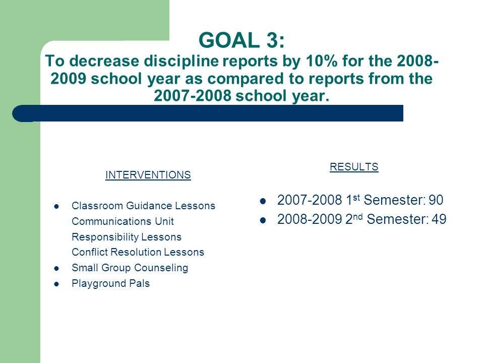 GOAL 3: To decrease discipline reports by 10% for the 2008-2009 school year as compared to reports from the 2007-2008 school year.