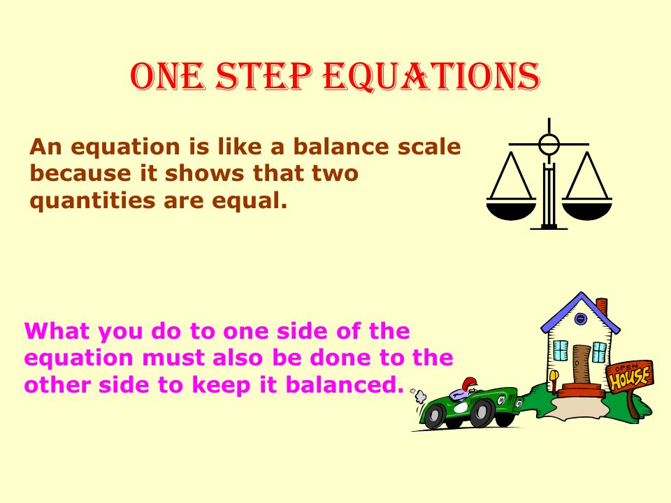 ONE STEP EQUATIONS An equation is like a balance scale because it shows that two quantities are equal.