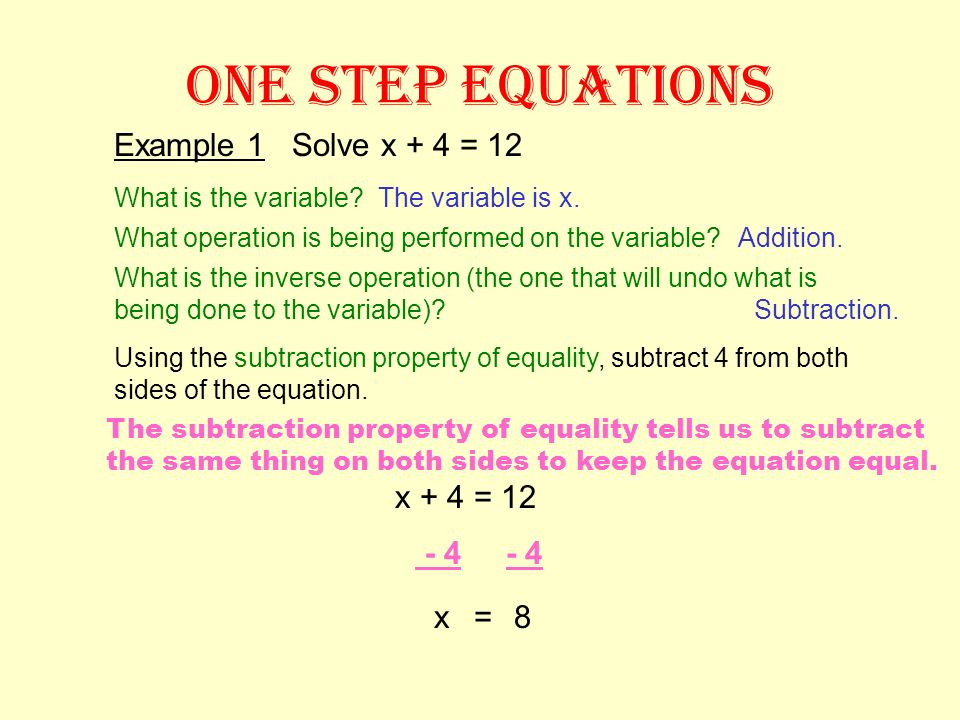 ONE STEP EQUATIONS Example 1 Solve x + 4 = 12 x + 4 = 12 - 4 - 4 x = 8