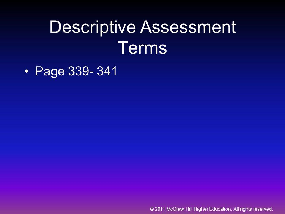 Descriptive Assessment Terms