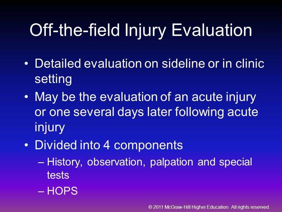 Off-the-field Injury Evaluation
