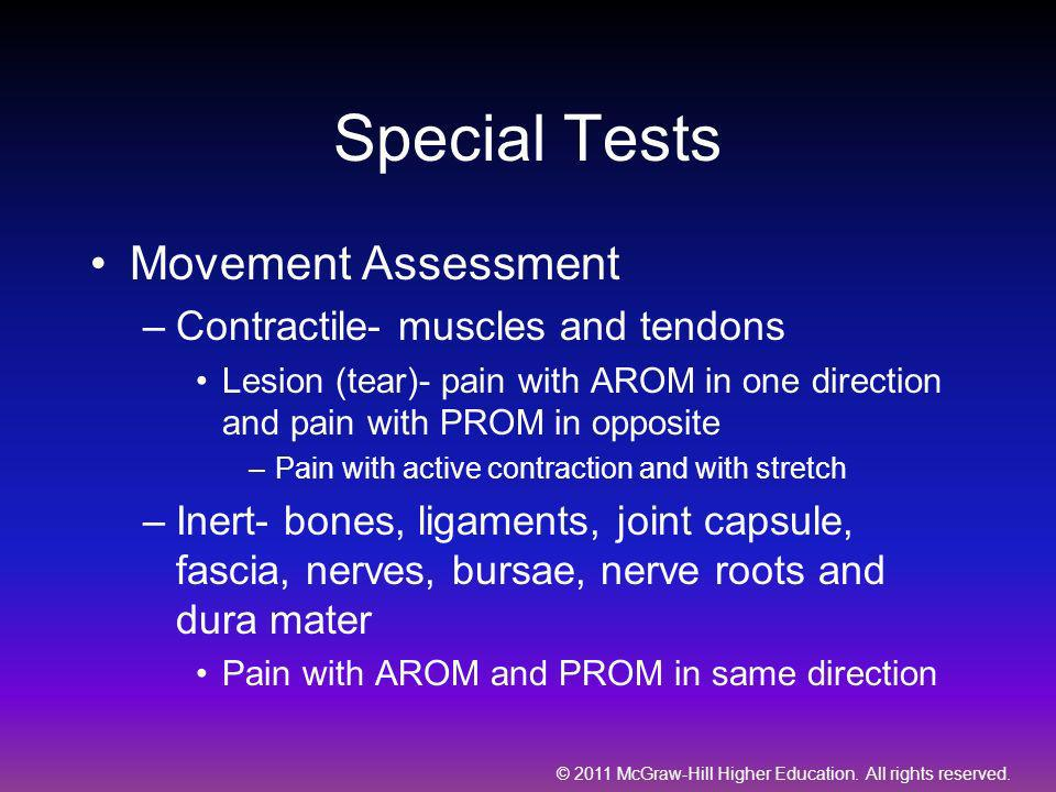 Special Tests Movement Assessment Contractile- muscles and tendons