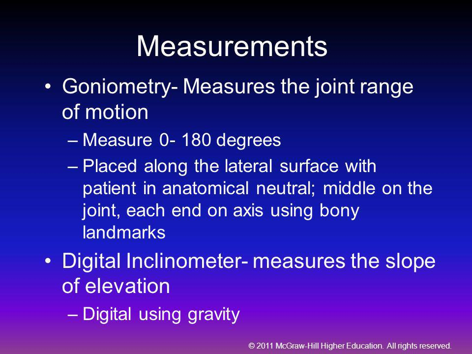 Measurements Goniometry- Measures the joint range of motion