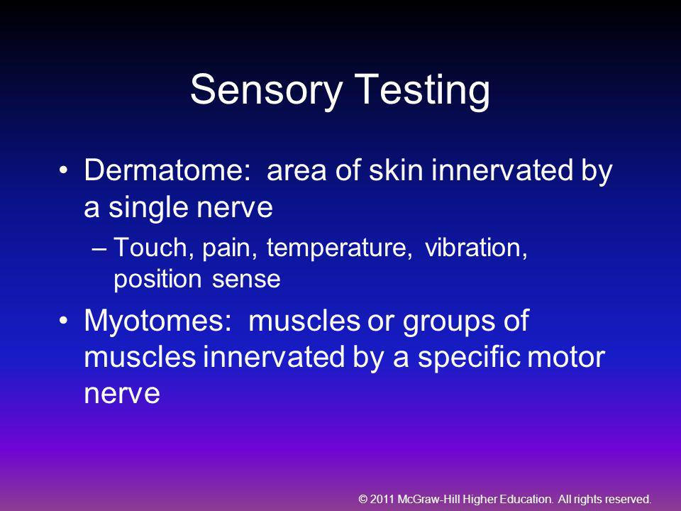 Sensory Testing Dermatome: area of skin innervated by a single nerve