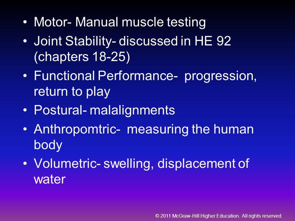 Motor- Manual muscle testing