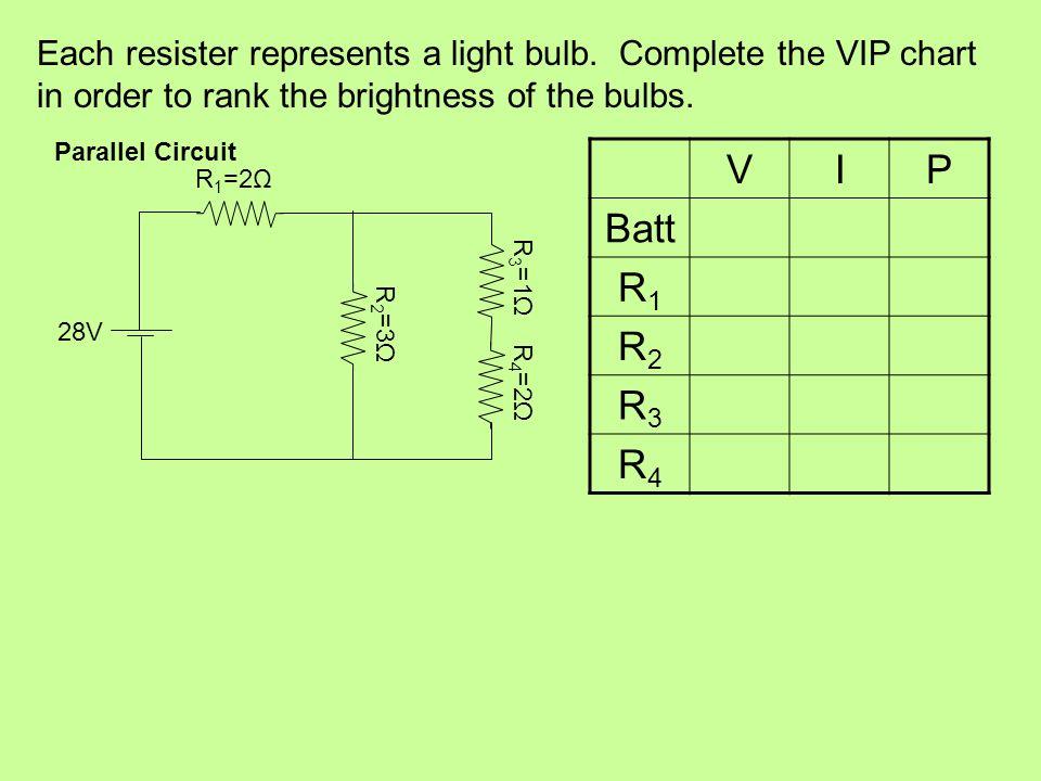 Each resister represents a light bulb