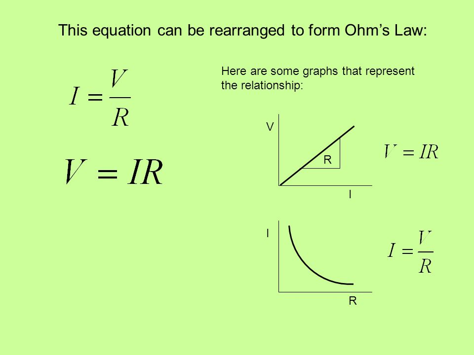 This equation can be rearranged to form Ohm's Law: