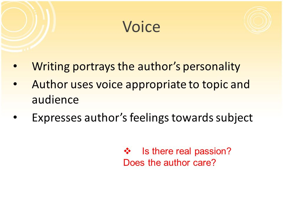 Voice Writing portrays the author's personality