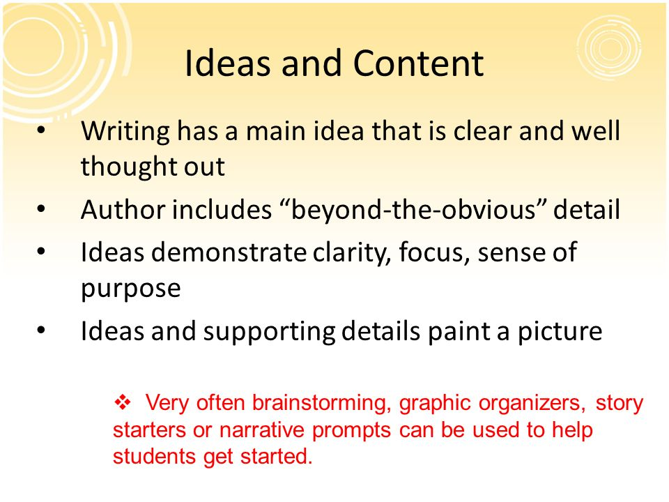 Ideas and Content Writing has a main idea that is clear and well thought out. Author includes beyond-the-obvious detail.