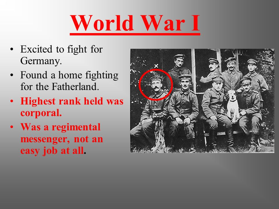 World War I Excited to fight for Germany.