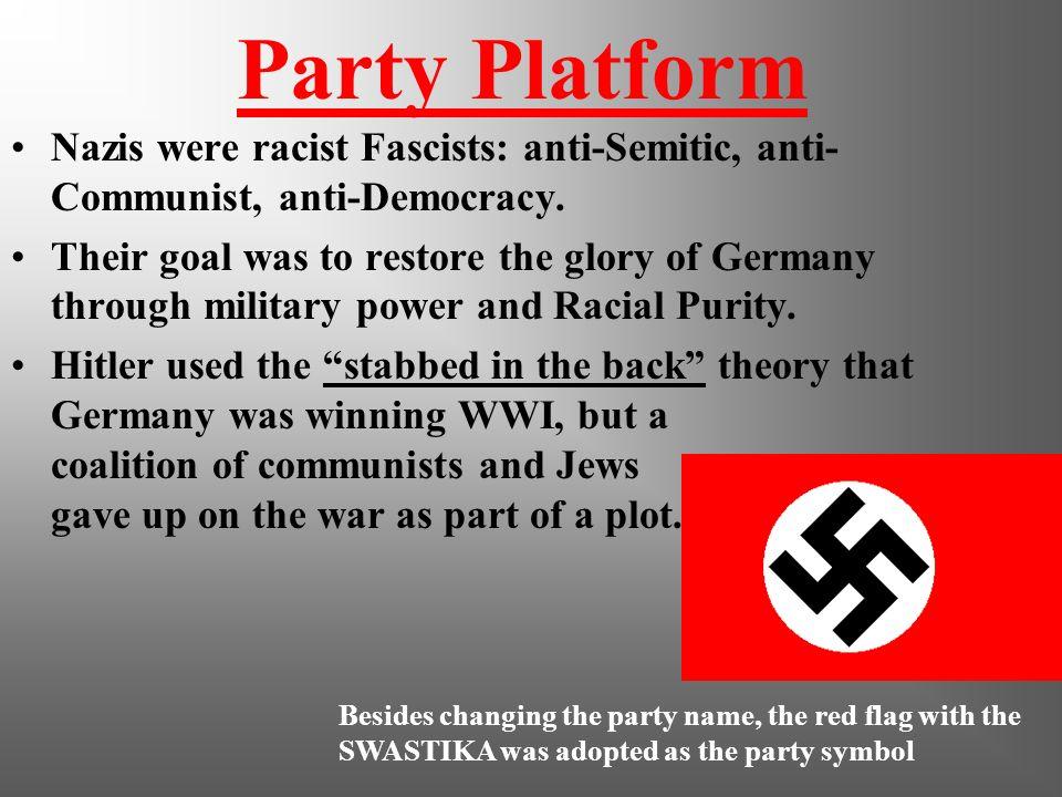 Party Platform Nazis were racist Fascists: anti-Semitic, anti-Communist, anti-Democracy.