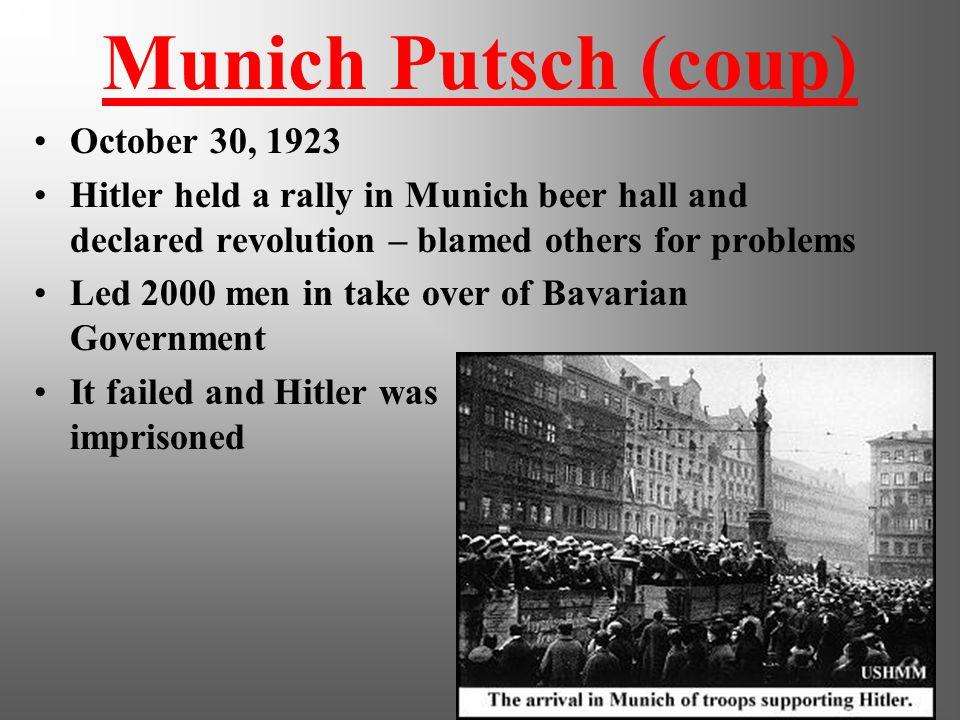 Munich Putsch (coup) October 30, 1923