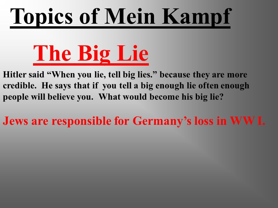 Topics of Mein Kampf The Big Lie