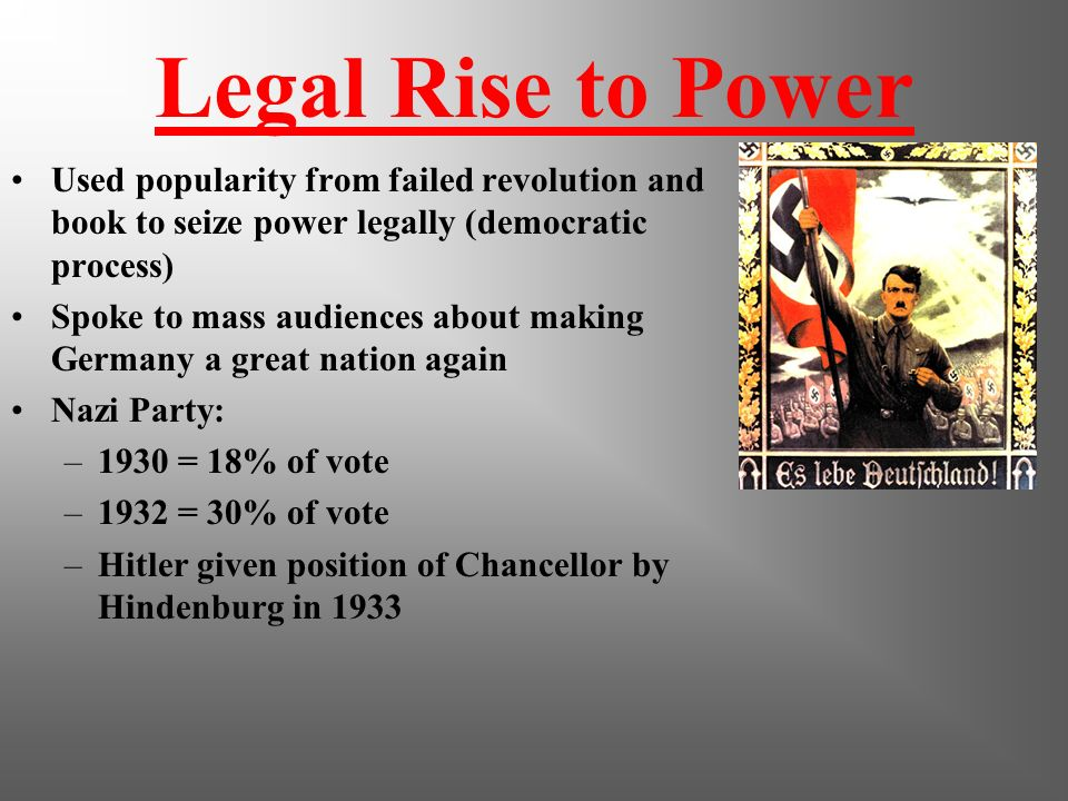 Legal Rise to Power Used popularity from failed revolution and book to seize power legally (democratic process)