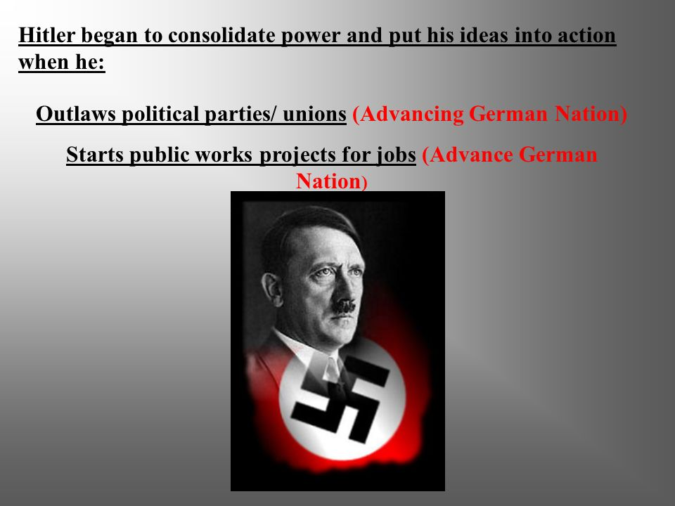 Outlaws political parties/ unions (Advancing German Nation)