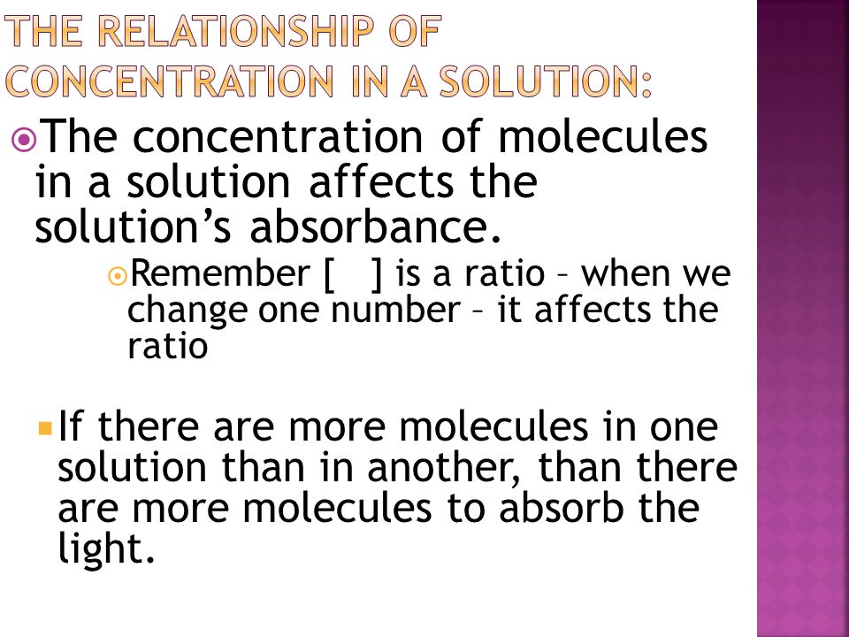 The relationship of concentration in a solution: