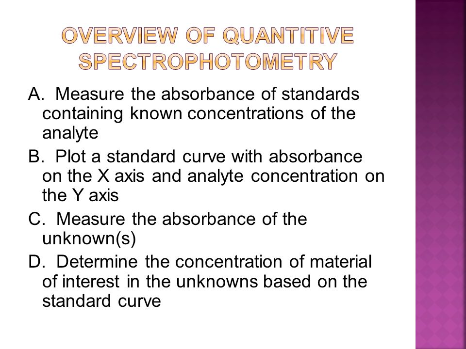 OVERVIEW OF QUANTITIVE SPECTROPHOTOMETRY