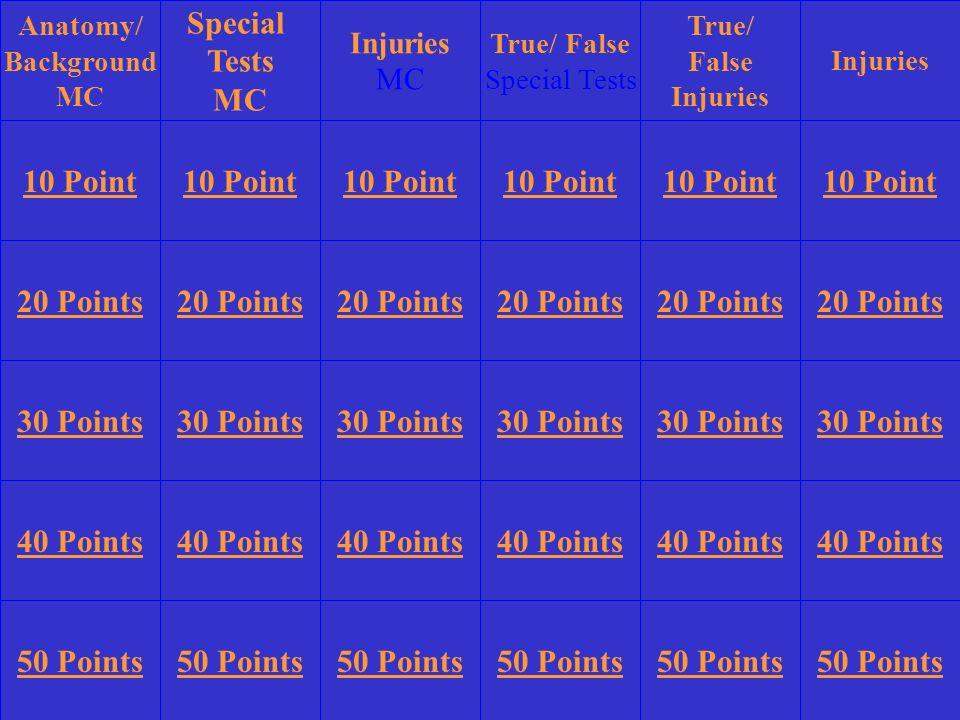 Special Tests MC 10 Point 10 Point 10 Point 10 Point 10 Point 10 Point