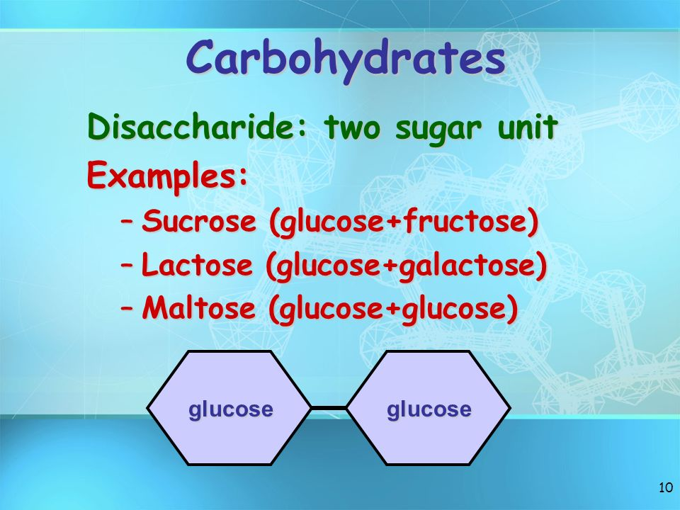Carbohydrates Disaccharide: two sugar unit Examples: