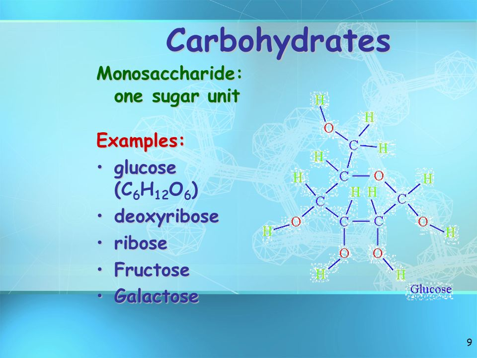 Carbohydrates Monosaccharide: one sugar unit Examples: