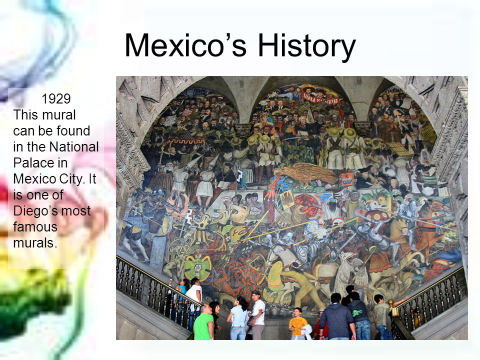 Mexico's History 1929. This mural can be found in the National Palace in Mexico City.