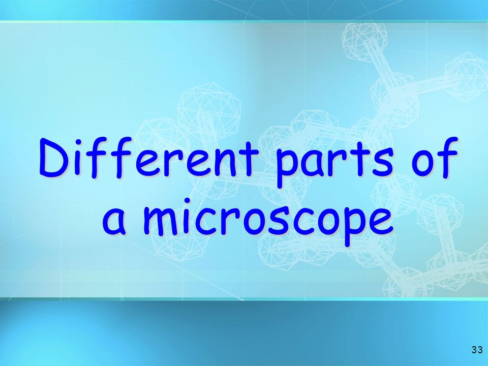 Different parts of a microscope