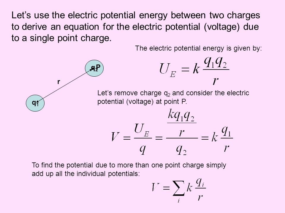 Let's use the electric potential energy between two charges to derive an equation for the electric potential (voltage) due to a single point charge.