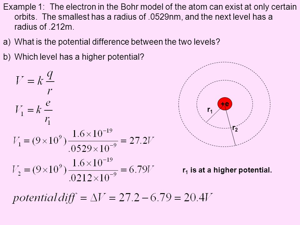 What is the potential difference between the two levels