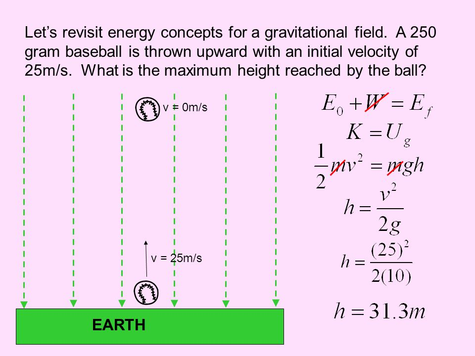 Let's revisit energy concepts for a gravitational field