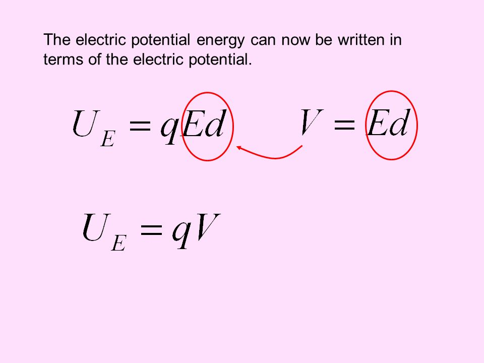 The electric potential energy can now be written in terms of the electric potential.