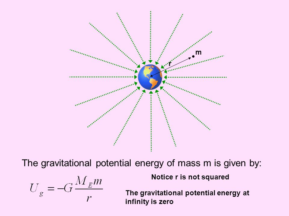 The gravitational potential energy of mass m is given by: