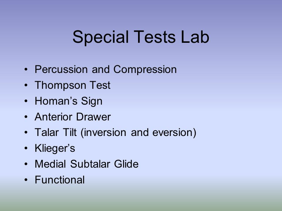 Special Tests Lab Percussion and Compression Thompson Test