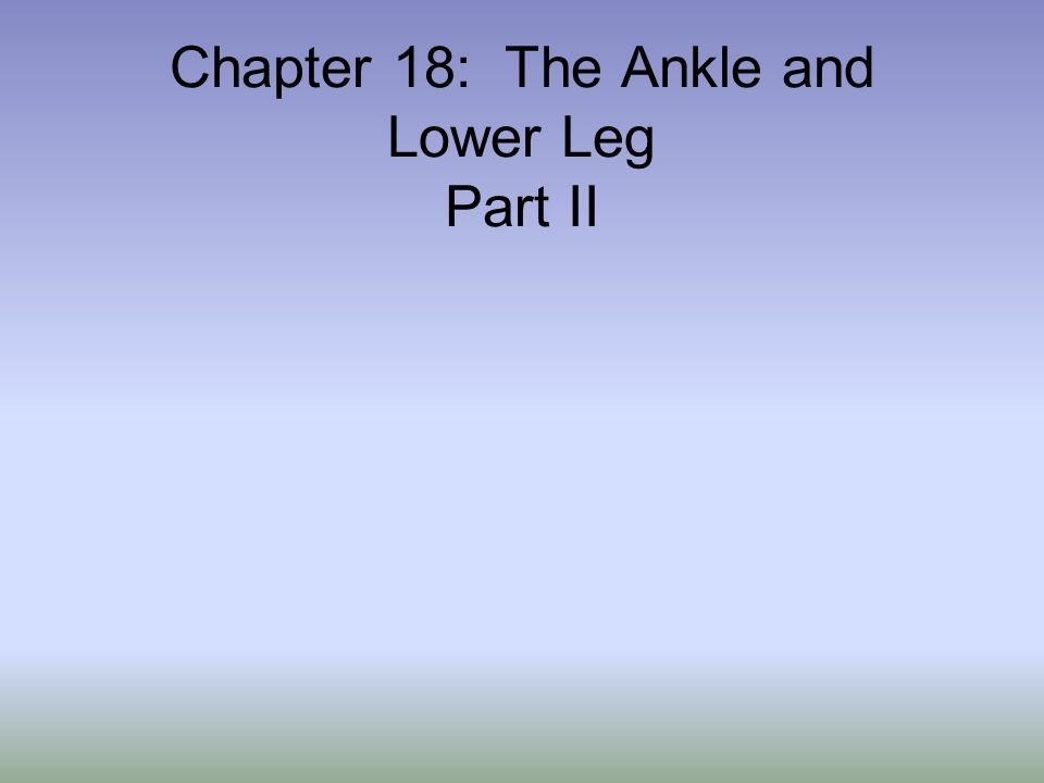 Chapter 18: The Ankle and Lower Leg Part II