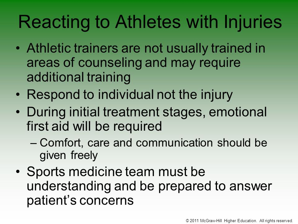 Reacting to Athletes with Injuries